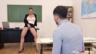 YOUMIXPORN - Busty Teacher Cathy Heaven fucks horny student