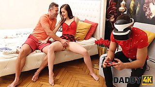 DADDY4K. Dad was eager to have fun with his sons girl in front of him
