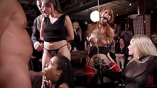 Penny Pax and her slutty friends tied up and abused together