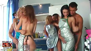 Group sex scene with hottest student babes