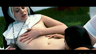 Naughty nun Charlotte Stokely fucks a beautiful girl