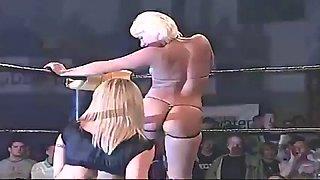 Wew female lesbian vegetable oil ring wrestling