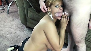 Busty housewife Angel Lynn in sexy black panties and
