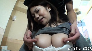 Asian babe with smoking sexy milk shakes masturbates wildly