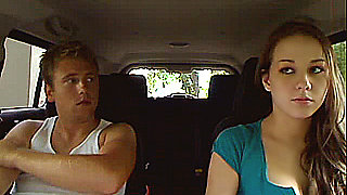 Young amateur couple doing it in the car