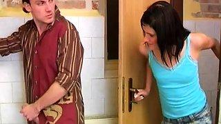 Nice body teen xxx Debbie humped in public toilet