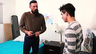 FamilyDick - Daddy teaches virgin stepson to suck and fuck