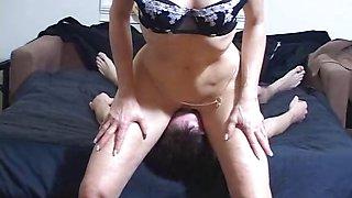Young man licks old mistress\' ass hole