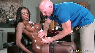 Bald white stud oils up juicy black tits of stacked ebony bitch in the office