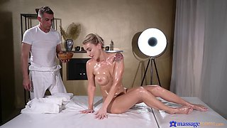 Stunning blonde Elen Million gets a massage and a stiff cum gun