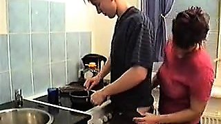 Stepmom seduce her boy in kitchen PT1- More On HDMilfCam.com