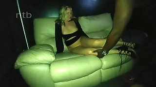 Wife with black guy at gloryhole in swinger club