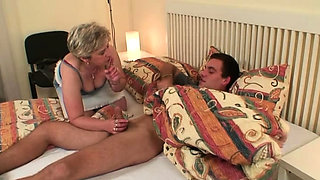 Horny granny wakes him up for cheating taboo sex