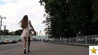 Astonishing European teen in white panties upskirt outside
