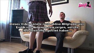 German redhead small tits amateur teen in high heels fucked