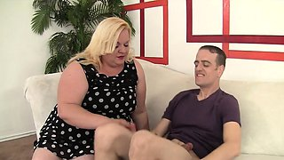 Horny BBW makes her buddy super hard with her seduction