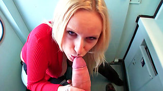 Cute blonde is fucked in the train toilet