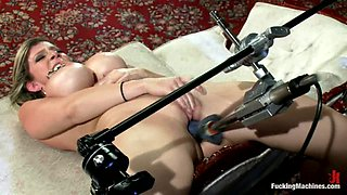 Sara Jay gets her cunt double fucked by a sex machine