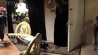 Hot blonde milf in lingerie turns her husband into a cuckold