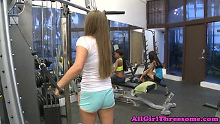 Busty ebony lesbian pussylicked at the gym