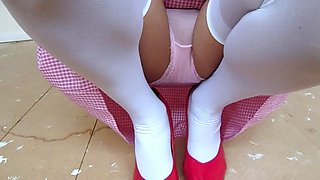Gingham school dress with white stockings