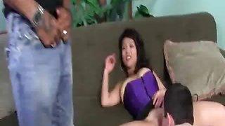Asian Wife Sucks A Giant Black
