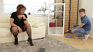Mature slut in nylon stockings named Yahra fucked brutally by handsome young man