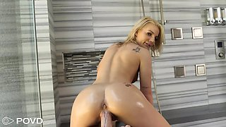 Slender blondie with a nice ass Bella Rose gets a mouthful of sperm