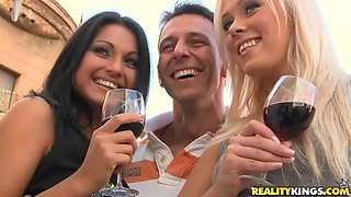 Wine leads to hardcore foursome