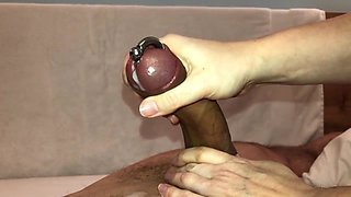 Great Handjob - Fat Rock Hard Pierced Cock - Prince Albert - Lots of CUM!