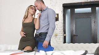 Skinny blonde with glasses Katrin Tequila gets a huge facial