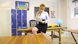 Buxom blonde teacher sucks off her student in POV