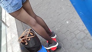 Street black pantyhose