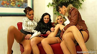 Three clothed babes star in piss video