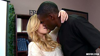Charming long haired blonde kneels down in front of BBC