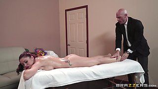 Tattooed woman Monique Alexander spreads her legs for a man
