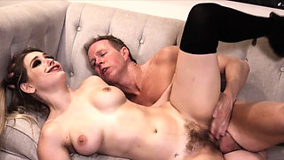 Hairy pussy emo babe rides cock