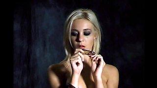 Slutty amateur blonde smoking and jerking dick