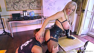 Biker dude fuck a leather clad MILF with giant melons