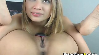 Flexible Teen Reaching her Own Pussy and Licks It