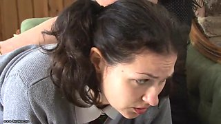 Teacher hairbrushes student&#39s ass