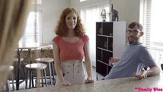 Red haired stepsister Abby Rains gets her pussy nailed in the bathroom