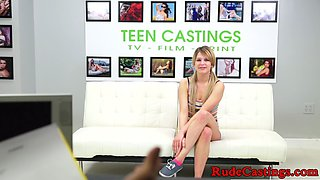 This kinky blonde loves rough stuff and gets tied up and abused by a stud on her sex casting audition