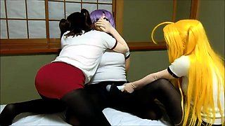 Masked Japanese babes play out their funny lesbian fantasy