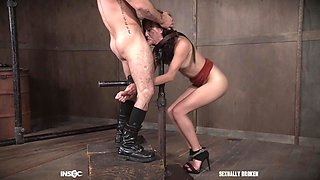 Hardcore throat and pussy abuse for redhead Alex More tied up