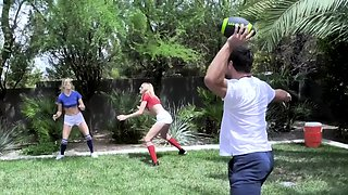 Stepdad Teach His Step Daughters How To Handle Balls