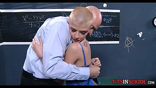 shaved head girl has huge tits