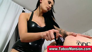 Brunette bound slut gets her ass toyed by lez domina in hd