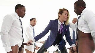 Office slut had a very dirty gang bang dream involving BBC