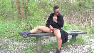 Ebony babe Michelles public flashing and black cuties outdoor